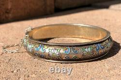 Antique Vieux Chinois Gilt Argent Multi Color Émail Floral Hinged Bangle Bracelet