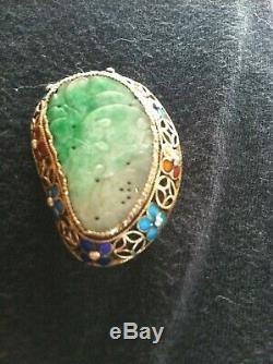 Antique Vieux Chinois Gilt Or Argent En Émail Cloisonné Sculpté Vert Broche Jade