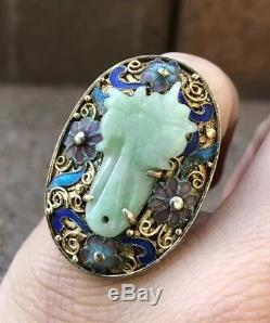 Antique Vieux Chinois Gilt Or Argent Multi Color Émail Sculpté Vert Jade Anneau