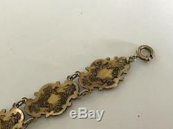 Antique Vintage Argent Doré Bracelet En Émail Chinois Filigrané