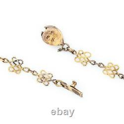 Antique Vintage Art Deco 925 Argent Sterling Or Laver Collier De Perles Chinois 5g