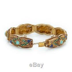 Antique Vintage Art Déco En Argent Sterling D'or Chinois Turquoise Émail Bracelet