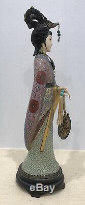 Antique Vintage Chinois Cloisonné Figure Statue Femmes Sculpté Et Doré D'argent En Émail
