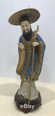 Antique Vintage Chinois Cloisonné Figure Statue Scholar Or Argent Émail