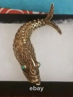 Antique Vintage Chinois Koi Fish Gilded Sterling Filigree Vers 1940's