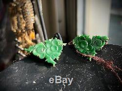 Antique Vintage Chinois Sculpté Floral Vert Jade Gilt Boucles D'oreilles En Argent