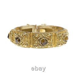 Antique / Vintage Chinois Vermeil Filigrane Bracelet Avec Cabochons Eye Tiger