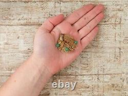 Antique Vintage Deco 925 Sterling Silver Gold Wash Chinois Aventurine Pin Broche