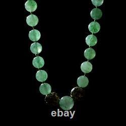 Antique Vintage Deco Sterling Argent Or Laver Chinese Jade Collier Jade 56g
