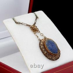 Antique Vintage Deco Sterling Argent Or Laver Chinese Lapis Lazuli Collier 5g