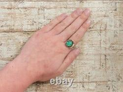Antique Vintage Deco Sterling Silver Gold Laver Chinese Chrysoprase Ring Sz 5.75