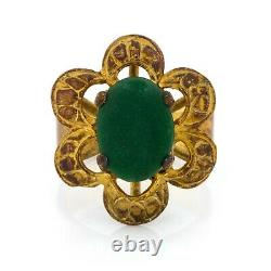 Antique Vintage Deco Sterling Silver Gold Laver Chinese Nephrite Jade Ring S 4.75