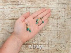 Antique Vintage Deco Sterling Silver Gold Wash Chinese Turquoise Dangle Boucles D'oreilles