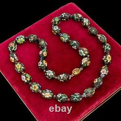Antique Vintage Deco Sterling Silver Gold Wash Collier Émail Chinois 100.9g