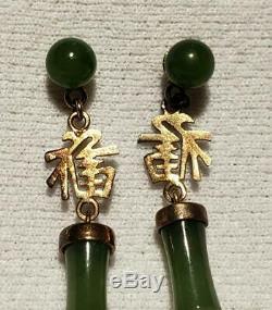 Antique / Vintage Forme Bambou Vert De Jade Chinois D'or Doré Boucles D'oreilles En Argent