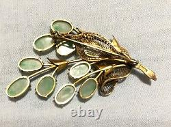 Antique/vintage Chinese Export Jade Jadeite Silver Gilt Pin Broche