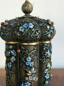 Antiquité Chine Exportation Chinoise Boîte À Thé Émail Cloisonné Émail Doré À L'argent