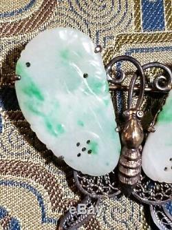 Antiquité Chinois Argent Pomme Jade Jadéite Filligree Broche Papillon Doré Estate