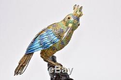 Antiquité Chinois Émaillé Argent Filigrane Or Doré Oiseau Pierre Précieuse Yeux Base En Bois