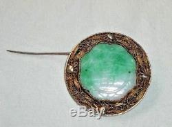 Antiquité Chinoise Argentée En Filigrane Doré Jadeite Jade Broche Ronde