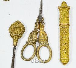 Antiquité Chinoise Exportation Couture Doré-argent Avec Chiffres