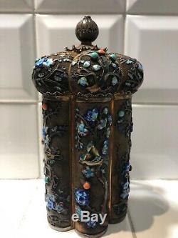 Antiquité Chinoise Exportation En Argent Filigrane À Thé En Argent Doré Caddy Émail Corail Turquoise Grand