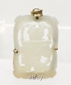 Antiquité Chinoise Nephrite Jade Danse Pendentif Garçon Plaque En Argent Massif Doré