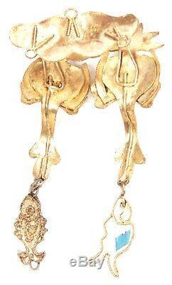 Antiquité Chinoise Qing Kingfisher Plume Bijoux En Or Doré Argentée D'oie De Canard Ancienne
