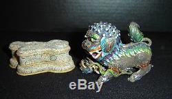 Antiquité Chinoise Qing Maille Filigrane D'argent Dorée Et Email Foo Dog Lion Beast Rare