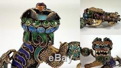 Antiquité Vtg Chinois Foo Paire De Chiens Emaillé Argent Figurine En Filigrane Doré Et Doré