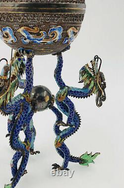 Antitique Chinese Export Filigree Gilt Argent Enamel Dragons Censeur Urn Indents