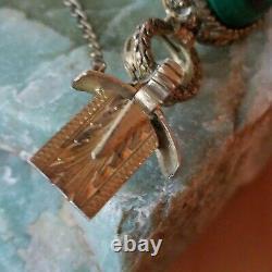Antitique Chinese Export Malachite Cabochon Gilt Filigre Bracelet Rare