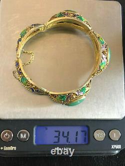 Antitique Jade Bracelet Chinois Export Or Sterling Argent Émail 34g 925 #1176