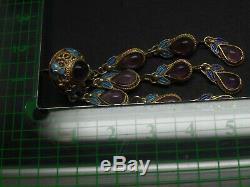 Argent À L'exportation Chinois Vintage 925 Gilt Amethyst Émail Cascade Oreilles 14g