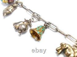 Argent Chinois Antique Et Bracelet De Charme D'or Af