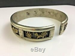 Argent Chinois Antique Signé Avec Bracelet En Or Immortels Et Les Chauves-souris Dynastie Qing