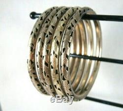 Argent Chinois D'exportation Sterling Doré Bangle Bracelets Lot De 5