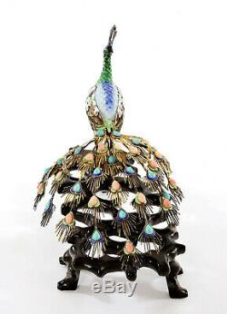 Argent Chinois Gilt Sterling Émail Paon Oiseaux Corail Turquoise Perle En Bois As Is