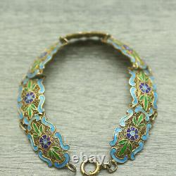 Argent Chinois Or-tone Enamel Filipree Enamel Bracelet Fleur 8