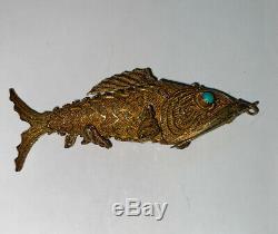 Argent Sterling Vintage Jade Yeux Pilulier Poisson Chinois Pendentif + Bonus Babyfish