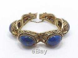 Argent Vintage Chinese Export Gilt Filigrane & Blue Lapis Bracelet