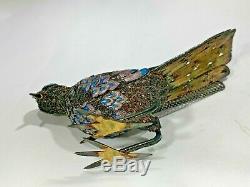 Argent Vintage Sterling Chinois Gilt Filigrane Oiseaux Émail De Paradisefigurine