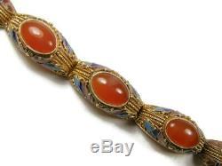 Art Antique Silver Gilt Chinois Nouveau Cornaline Et Émail Bracelet Cinq Panneau