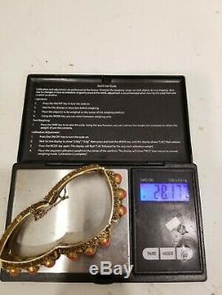 Art Déco Chinois En Argent Sterling 925 Filigrane Cornaline Cabochon Chine Bracelet