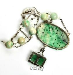 Art Déco Chinois Naturel Jade 14k Blanc Or & Argent Foo Chien Collier Pendentif