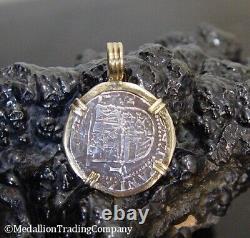 Atocha Reale Silver Treasure Shipwreck Coin 14k Jaune Or Grand Pendentif Lunette