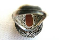 Bague Chinoise Chinoise Argent Carnelian & Email - Taille Réglable 9.5