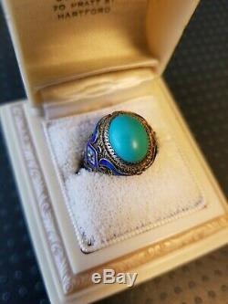 Bague En Émail Turquoise Vintage Avec Exportation Chinoise
