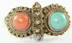 Bague Turquoise Corail Vintage Antique Chinoise En Argent Sterling