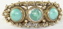 Bague Vintage Antique En Argent Sterling Doré Avec Turquoises